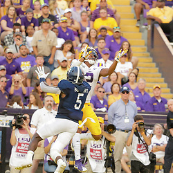 Aug 31, 2019; Baton Rouge, LA, USA; LSU Tigers wide receiver Justin Jefferson (2) catches a touchdown over Georgia Southern Eagles linebacker Jay Bowdry (5) during the first quarter at Tiger Stadium. Mandatory Credit: Derick E. Hingle-USA TODAY Sports