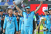 Jonny Bairstow of England and Liam Plunkett of England celebrating on the lap of honour after winning the Cricket World Cup during the ICC Cricket World Cup 2019 Final match between New Zealand and England at Lord's Cricket Ground, St John's Wood, United Kingdom on 14 July 2019.