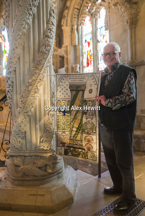 FREE PICTURE FOR GREAT TAPESTRY OF SCOTLAND PUBLICITY. TO ACCOMPANY PRESS RELEASE.<br /> <br /> The Roslin stitching group of the Great Tapestry of Scotland showcase the replacement for the Rosslyn chapel panel that was stolen in September 2015<br /> <br /> Andrew Crummy (Artist)<br /> <br /> picture by Alex Hewitt<br /> alex.hewitt@gmail.com<br /> 07789 871 540