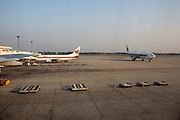 Don Muang Airport, used for domestic flights during repair on one of the new Suvarnabhumi airport's crumbling runways. Thai Airways flight from Bangkok to Had Yai.