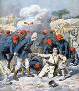 Death of Lieutenant Lecerf, surrounded by concerned Zouaves, at S'Napa, Upper Niger. Expansion of French territories in West Africa.  From 'Le Petit Journal', Paris, 9 March 1894. Military, Soldier