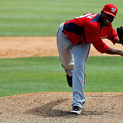 March 24, 2012; Sarasota, FL, USA; Washington Nationals pitcher Edwin Jackson throws during the top of the third inning of a spring training game against the Baltimore Orioles at Ed Smith Stadium.  Mandatory Credit: Derick E. Hingle-US PRESSWIRE