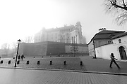 Wavel castle in the mist, Krakow, Poland