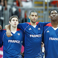 04 August 2012: Yakhouba Diawara, Fabien Causeur, Nicolas Batum, and Kevin Seraphin are seen during the National Anthem prior to the 73-69 Team France victory over Team Tunisia, during the men's basketball preliminary, at the Basketball Arena, in London, Great Britain.