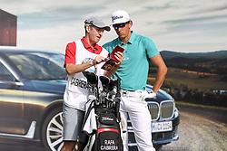 25.06.2015, Golfclub München Eichenried, Muenchen, GER, BMW International Golf Open, Tag 1, im Bild Rafa Cabrera-Bello (ESP) bespricht sich mit seinem Caddie // during day one of the BMW International Golf Open at the Golfclub München Eichenried in Muenchen, Germany on 2015/06/25. EXPA Pictures © 2015, PhotoCredit: EXPA/ Eibner-Pressefoto/ Kolbert<br /> <br /> *****ATTENTION - OUT of GER*****