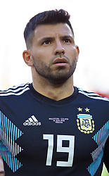 MOSCOW, RUSSIA - Saturday, June 16, 2018: Argentina's Sergio Aguero before the FIFA World Cup Russia 2018 Group D match between Argentina and Iceland at the Spartak Stadium. (Pic by David Rawcliffe/Propaganda)