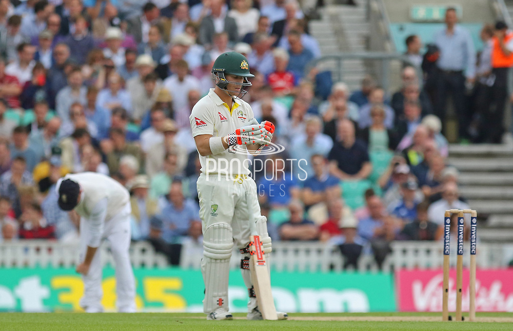 David Warner of Australia during the 1st day of the 5th Investec Ashes Test match between England and Australia at The Oval, London, United Kingdom on 20 August 2015. Photo by Phil Duncan.