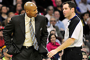 Feb. 5, 2011; Cleveland, OH, USA; Cleveland Cavaliers head coach Byron Scott argues with referee Brian Forte (45) during the third quarter against the Portland Trail Blazers at Quicken Loans Arena. The Trail Blazers beat the Cavaliers 111-105. Mandatory Credit: Jason Miller-US PRESSWIRE