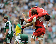 Twickenham, GREAT BRITAIN, Toulouses' Jean BOULILOU, jumps up on Romain MILLO-CHLUSKI, after the final whistle as Toulosue win the Heineken, Semi Final, Cup Rugby Match,  London Irish vs Toulouse, at the Twickenham Stadium on Sat 26.04.2008 [Photo, Peter Spurrier/Intersport-images]