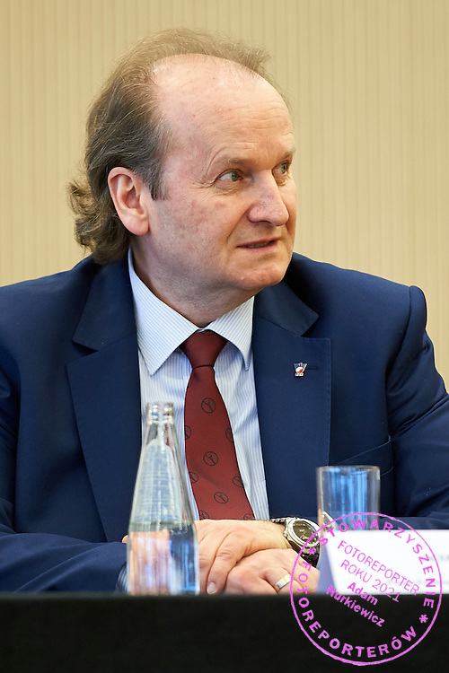 The Polish Tennis Federation president Jacek Muzolf during official draw one day before the Fed Cup / World Group 1st round tennis match between Poland and Russia at Holiday Inn on February 6, 2015 in Cracow, Poland.<br /> <br /> Poland, Cracow, February 6, 2015<br /> <br /> Picture also available in RAW (NEF) or TIFF format on special request.<br /> <br /> For editorial use only. Any commercial or promotional use requires permission.<br /> <br /> Adam Nurkiewicz declares that he has no rights to the image of people at the photographs of his authorship.<br /> <br /> Mandatory credit:<br /> Photo by &copy; Adam Nurkiewicz / Mediasport