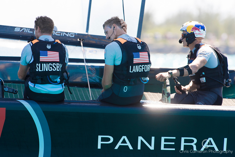 The Great Sound, Bermuda, 18th June. Oracle Team USA crew after their fourt loss in arow to Emirates Team New Zealand. Day two of the America's Cup.