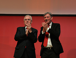 Shadow Chancellor John McDonnell with Richard Leonard after delivering the keynote speech on the final day of the Scottish Labour conference at the Caird Hall in Dundee.