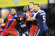 Nathaniel Mendez-Laing, Marc Antoine Fortune, harrison McGahey and Adam Thompson tussle for the ball during the EFL Sky Bet League 1 match between Southend United and Rochdale at Roots Hall, Southend, England on 14 January 2017. Photo by Daniel Youngs.