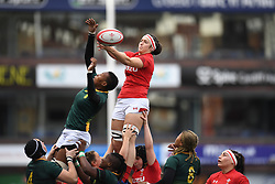 Wales Mel Clay wins the line out<br /> Wales Women v South Africa Women<br /> Autumn International<br /> <br /> Photographer Mike Jones / Replay Images<br /> Cardiff Arms Park<br /> 10th November 2018<br /> <br /> World Copyright © 2018 Replay Images. All rights reserved. info@replayimages.co.uk - http://replayimages.co.uk