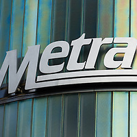 Picture of Metra sign in Chicago. Metra is the commuter train service that serves Chicago and the Chicago suburbs.