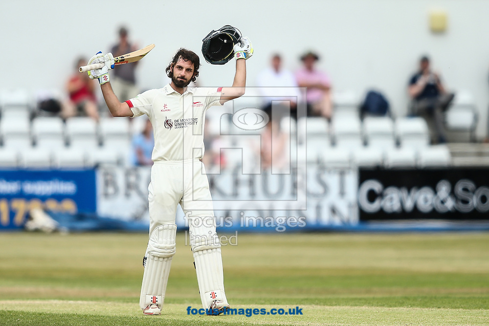 Ned Eckersley of Leicestershire acknowledges the applause on reaching his century during the Specsavers County C'ship Div Two match at the County Ground, Northampton<br /> Picture by Andy Kearns/Focus Images Ltd 0781 864 4264<br /> 14/08/2016