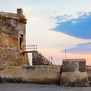 A watchtower in the small fishing village of San Miguel de Cabo de Gata, Almeria, Spain.