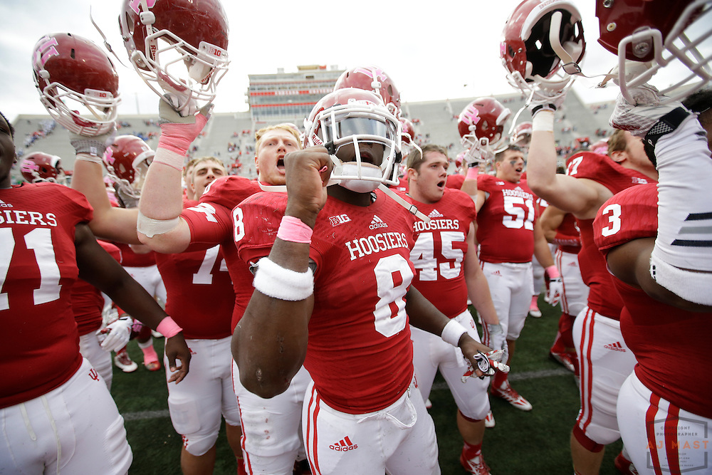 04 October 2014: Indiana Hoosiers linebacker Tegray Scales (8)  as the Indiana Hoosiers played North Texas in a NCAA college football game in Bloomington, IN.