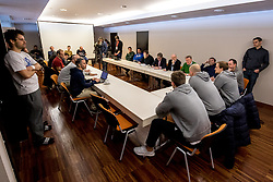 15.01.2018, Hotel Molindrio, Porec, CRO, EHF EM, Herren, Pressekonferenz Österreich, Gruppe B, im Bild der Presseraum // during an Austrian Press Conference during the EHF men's Handball European Championship at the Hotel Molindrio in Porec, Croatia on 2018/01/15. EXPA Pictures © 2018, PhotoCredit: EXPA/ Sebastian Pucher