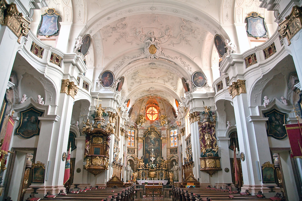 Wachau Valley, Austria:  Interior views of the Durnstein Monastery church, built between 1720-1733 in the baroque style.  Durnstein retains its historic character and air of romance, one of the most popular stops on the Danube on a cruise between Melk and Durnstein.