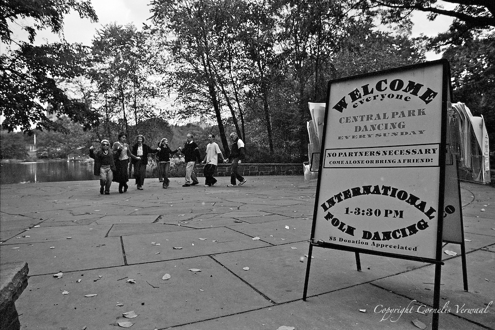 International Folk Dancing at the statue of Polish King Jagiello in Central Park, New York City.
