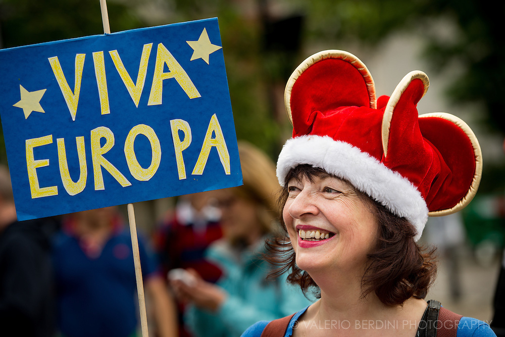 Viva Europa. Tens of thousands of people marched in central London on 2nd of July protesting against the results of the Referendum that called UK outside the European Union.