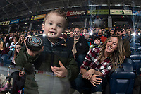 KELOWNA, CANADA - FEBRUARY 23:  A young fan catches the puck  on February 23, 2019 at Prospera Place in Kelowna, British Columbia, Canada.  (Photo by Marissa Baecker/Shoot the Breeze)