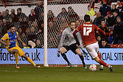 Nottingham Forest striker Nelson Oliveira closes in on the goal during the Sky Bet Championship match between Nottingham Forest and Preston North End at the City Ground, Nottingham, England on 8 March 2016. Photo by Jon Hobley.
