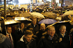© Licensed to London News Pictures. 09/01/2017. London, UK. Commuters queue outside Waterloo Station in the rain as London Underground services are severely disrupted due to RMT and TSSA unions' 24-hour strike action in a dispute over jobs cuts and closed ticket offices on January 9, 2017. Photo credit: Tolga Akmen/LNP