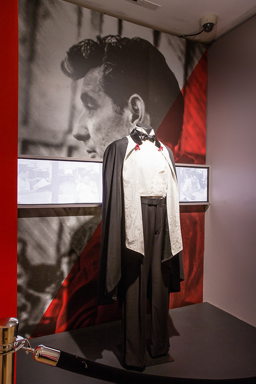 Leonard Bernstein's formal wear on display at the New York Public Libary Performing Arts Library, part of a display of the Library's efforts to preserve early recordings.