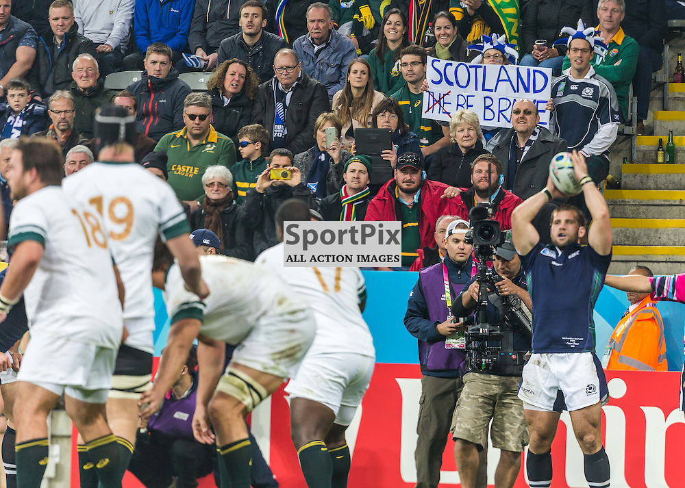 Fans show their support during the Rugby World Cup match between Scotland and South Africa (c) ROSS EAGLESHAM | Sportpix.co.uk