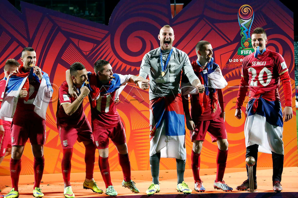 FIFA U20 World Cup New Zealand 2015, 20 June 2015, Auckland, Brazil - Serbia, 1:2, Final, captain and goalkeeper Predrag RAJKOVIC (M) celebrates with his team mates (SRB)