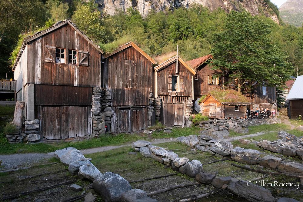 Old wooden boat houses, Geiranger, Geiranger Fjord, Vestlandet, Norway