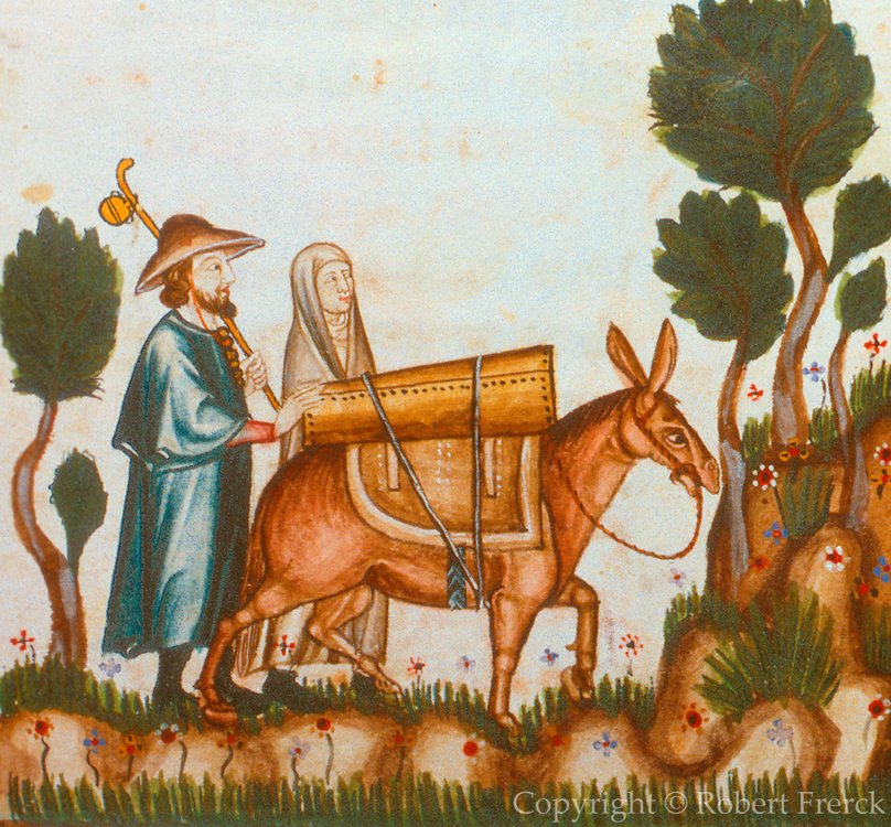 SPAIN, MIDDLE AGES, EL ESCORIAL 13thC Cantigas illuminated poems created for Alfonso X of Castile shows pilgrims travel with donkey