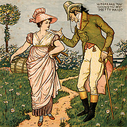 Where are you going to my pretty maid?/I'm going a milking Sir she said.  Illustration by the English artist  Walter Crane (1845-1915) for a book of nursery rhymes 'Sing a Song of Sixpence'  (London, 1866). Colour-printed wood engraving.