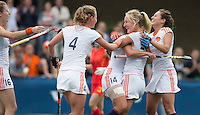 BREDA - Vrouwen van Oranje vieren  een goal tijdens de finale van het Volvo Invitatie Toernooi U21 tussen de vrouwen van Nederland (Jong Oranje)  en China (5-1) . COPYRIGHT KOEN SUYK