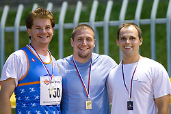Robert Tersek, Matija Kranjc and Borut Narat at medal ceremony after the Javelin Throw at Slovenian National Championships in athletics 2010, on July 17, 2010 in Velenje, Slovenia. (Photo by Vid Ponikvar / Sportida)