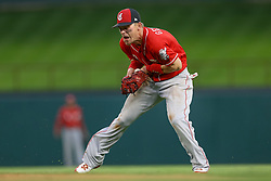 March 26, 2018 - Arlington, TX, U.S. - ARLINGTON, TX - MARCH 26: Cincinnati Reds second baseman Scooter Gennett (3) fields a hard hit ground ball during the exhibition game between the Cincinnati Reds and Texas Rangers on March 26, 2018 at Globe Life Park in Arlington, TX. (Photo by Andrew Dieb/Icon Sportswire) (Credit Image: © Andrew Dieb/Icon SMI via ZUMA Press)