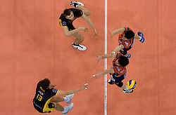 Michal Winiarski (13) and Marcin Mozdzonek of Belchatow vs Vid Jakopin and Matevz Kamnik of ACH at  match for 3rd place of CEV Indesit Champions League FINAL FOUR tournament between PGE Skra Belchatow, POL and ACH Volley Bled, SLO on May 2, 2010, at Arena Atlas, Lodz, Poland. Belchatow defeated ACH 3-1. (Photo by Vid Ponikvar / Sportida)