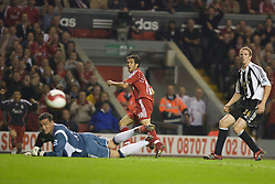 LIVERPOOL, ENGLAND - WEDNESDAY, SEPTEMBER 20th, 2006: Liverpool's Luis Garcia sees his shot go wide of the Newcastle United goal during the Premiership match at Anfield. (Pic by David Rawcliffe/Propaganda)