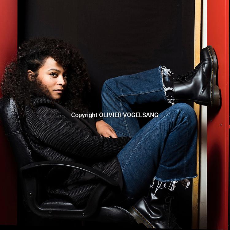 Genève, janvier 2018. Danitsa, jeune chanteuse hip hop avec des influences reggae, soul, funk, rock. © Olivier Vogelsang