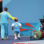 Anatolii Mykoliuk FROM UKRAINE AFTER BEING KNOCKED OUT OF THE POWERLIFTING AT THE LONDON 2012 PARALYMPIC GAMES