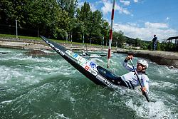 Slovenian slalom canoeist Benjamin Savsek during Canoe practice session in Tacen, Ljubljana, Slovenia. Photo by Vid Ponikvar / Sportida