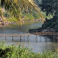 Bamboo Footbridge over Nam Khan River in Luang Prabang, Laos<br />
