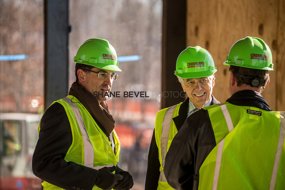 1/12/18 11:37:28 AM -- Halliburton CEO Jeff Miller and George Kaiser visit the Gathering Place for a press conference announcing Halliburton's support for the park. <br /> <br /> Photo by Shane Bevel