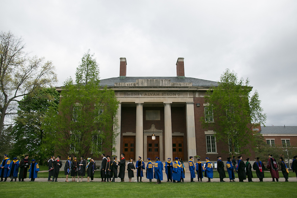 Faculty and students line up for the procession at the University of Rochester's Commencement ceremony in Rochester on Sunday, May 15, 2016.