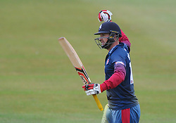 Alex Blake of Kent celebrates as he wins the game - Photo mandatory by-line: Dougie Allward/JMP - Mobile: 07966 386802 - 12/07/2015 - SPORT - Cricket - Cheltenham - Cheltenham College - Natwest Blast T20