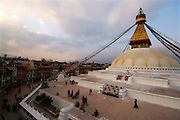 A pilgrim circumambulates, in the customary clockwise fashion,around the Boudhanath stupa, the spiritual and geographic centre of Nepal's Tibetan community.