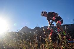 WELLINGTON SOUTH AFRICA - MARCH 23: Samuele Porro during stage five's 39km time trial on March 23, 2018 in Wellington, South Africa. Mountain bikers gather from around the world to compete in the 2018 ABSA Cape Epic, racing 8 days and 658km across the Western Cape with an accumulated 13 530m of climbing ascent, often referred to as the 'untamed race' the Cape Epic is said to be the toughest mountain bike event in the world. (Photo by Dino Lloyd)