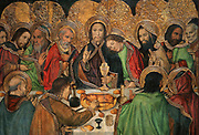 Last Supper, or Sant Sopar, detail, c. 1462-75, tempera and stucco relief with gold leaf, from the St Augustine Altarpiece, by Jaume Huguet, 1412-92, and Pau Vergos, in Gothic style, in the Museu Nacional d'Art de Catalunya, Barcelona, Spain. The painting depicts Jesus blessing the bread and wine in the original communion and St John asleep on Christ's shoulder. This is a panel from the altarpiece from the convent church of Sant Agusti Vell, Barcelona, commissioned by the Guild of Tanners. The MNAC holds 7 of the 8 surviving panels from this altarpiece. Picture by Manuel Cohen